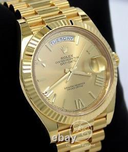 Rolex President 40mm Day-Date 228238 18K Yellow Gold Champagne Roman Dial B/PAPR