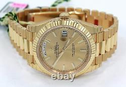 Rolex President 40mm Day-Date 228238 18K Yellow Gold Champagne Stick Dial NEW