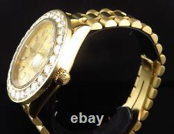 Rolex President Day-Date 18K Yellow Gold Large Diamond 18038 Diamond Watch 7.2Ct