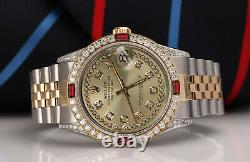 Rolex SS & Gold 36mm Datejust Unisex Watch Champagne String Dial Ruby & Diamond