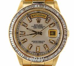 Rolex Solid 18k Yellow Gold Day-Date President White MOP Baguette Diamond 18238