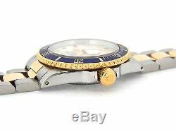 Rolex Submariner 18K Gold Stainless Steel White MOP Diamond Serti Blue Sub 16613