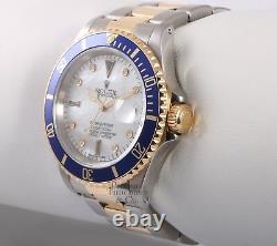 Rolex Submariner Date 16613 S/Steel 18k Gold Blue Insert-White MOP Diamond Dial