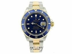 Rolex Submariner Date Mens 18k Yellow Gold Stainless Steel Watch Blue Sub 16613