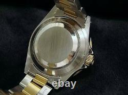 Rolex Submariner Date Mens 18k Yellow Gold & Steel Watch Blue Dial Bezel 16613