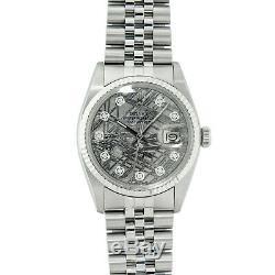 Rolex Watch Mens Datejust Wristwatch Steel-18K White Gold Meteorite Diamond Dial