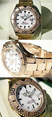 Rolex YACHT-MASTER 16628 Mens 18K Yellow Gold Time Lapse Bezel White Dial 40MM