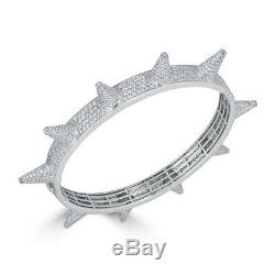 SOLID 925 Silver Spike Bangle Bracelet 14k Yellow Rose Gold Lil Pump ICY Diamond