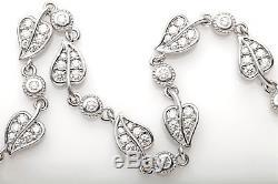 Signed $15,000 A JAFFE 4ct VS D E Diamond 18k White Gold LEAF LINK Bracelet 20g