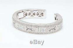 Signed Judith Ripka $26,500 4ct VS F Diamond 18k White Gold Bangle Bracelet 73g