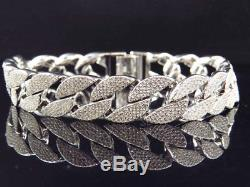 Simulated Diamond Flat Cuban Link Iced Out Bracelet In White Gold Finish (14mm)
