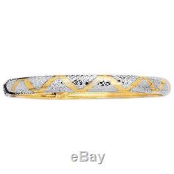 Solid 10kt Bangle Yellow & White Gold Flexible Bangle