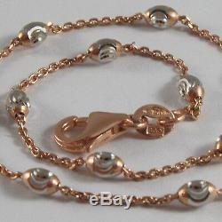 Solid 18k Rose & White Gold Bracelet With Mini Faceted Balls 7.09 Made In Italy