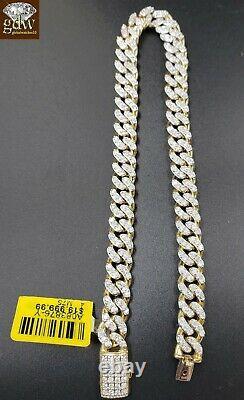 Solid Gold Diamond Bracelet cuban Link Mens 10k Gold Bracelet Genuine 4.30CT Dia