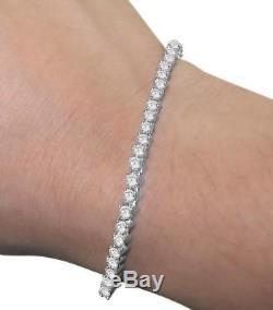 Tennis Bracelet I1 H 4.00Ct Round Cut Diamond 14Kt White Gold Prong Set 7.00Inch