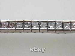 Trendy 14k. White Gold 3 Carats Princess Cut Ladies Diamond Tennis Bracelet