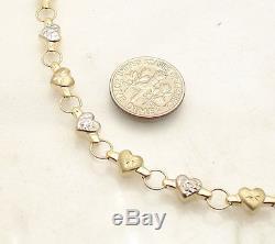 TwoTone Diamond Cut Heart Link Bracelet Real 10K Yellow White Gold FREE SHIPPING