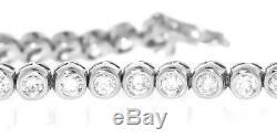 USA Made Natural 4ct Diamond Tennis Bracelet Round Bezel 14k White Gold 4.00ct