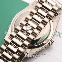 Unworn Factory Rolex Day-Date 118399BR Diamond Princess Cut Bezel 18k White Gold