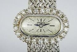 VINTAGE SOLID 14K WHITE GOLD GENEVA 0.55 TCW DIAMOND LADIES MESH BAND WATCH 33g
