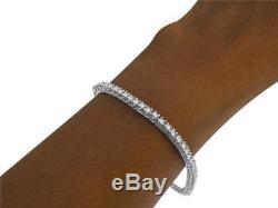 VS1 F Tennis Bracelet 1.50Ct Round Cut Diamond 14Kt Solid White Gold Prong Set