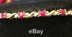 Vintage 10k Yellow & White Gold Red Natural Ruby Bracelet Tennis Gemstone