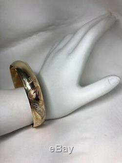Vintage 14K Solid Rose White Yellow Gold Bangle Adjustable Bracelet 9.7g