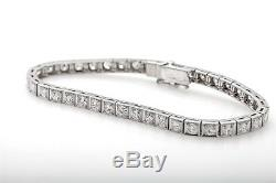 Vintage 1940s $15,000 Hallmarked 7ct VS G Diamond 18k White Gold Tennis Bracelet