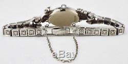 Vintage 1960s Geneve 14K White Gold Diamond Bracelet Cocktail Watch 15 Grams