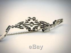 Vintage 1.00 Tcw Old European Cut Diamond 14k White Gold Art Deco Bracelet