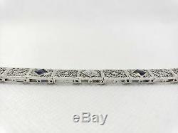 Vintage Art Deco 14k White Gold Round Diamond Filigree Bracelet