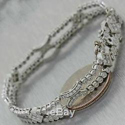 Vintage Estate 14K White Gold 2ctw Diamond Bracelet
