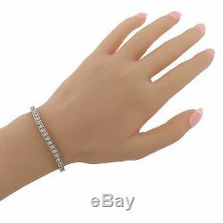Vintage Estate 14k White Gold 2.12ctw Diamond 3mm Box Link Line Tennis Bracelet