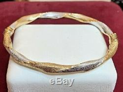 Vintage Estate 14k White & Yellow Gold Bangle Bracelet Designer Signed S C