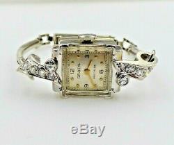 Vintage Gruen 14K White Gold Diamond Ladies Watch with 10K White Gold Bracelet