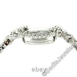 Vintage Hamilton 14k White Gold & Diamond Wrist Watch with Floral Bracelet 22j 761
