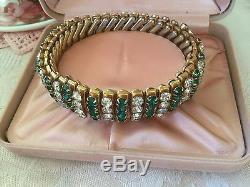 Vintage Jewellery Emerald White Gold 1940s Sweetheart Bracelet Antique Jewelry
