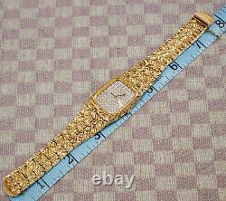 Vintage Large Mens 14 Karat Yellow Gold Nugget Wristwatch With Pave Diamond Dial