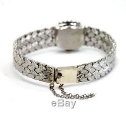 Vintage diamond Geneve ladies watch 14K white gold mesh bracelet GVS. 75CT 33 GM