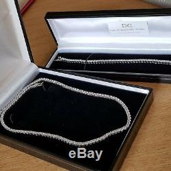 White Gold Finished Created Diamond Tennis Necklace And Bracelet Gift Boxed