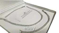 White gold finish created diamond Tennis necklace and bracelet 3mm Gift Boxed