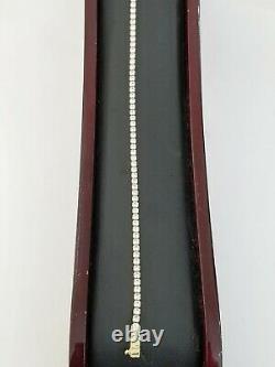 Women Diamond Look Tennis Bracelet Real 10k Yellow Gold 2mm 7