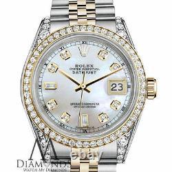 Women's Rolex SS Gold 36mm Datejust Watch White MOP 8+2 Diamond Dial